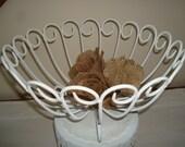 Large white metal basket- fruit basket-towel basket-shabby chic- vintage-coffee table basket-cottage decor-wedding basket.