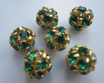 8mm Emerald And Gold Rhinestone Ball Beads 6Pcs.
