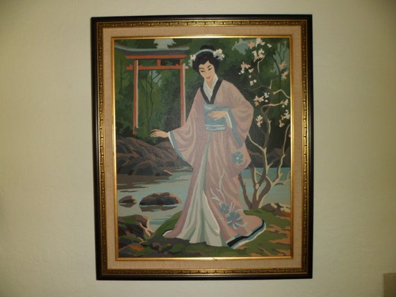 Mid Century large Paint by Numbers painting, Japanese woman in kimono, river scene, professionally framed, Asian design