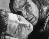 Wuthering Heights Original Pencil Drawing Portrait Ralph Fiennes Juliette Binoche Heathcliff Cathy Realistic Realism