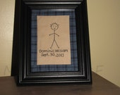 Family Stitchery_New Baby_One Person_Custom Made Birth Date Name_Comes Framed