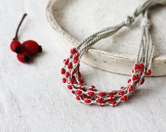 Multi strand linen necklace with berry red glass beads Natural rustic crochet beaded jewelry Gift for her Mother's day gift for mom Summer