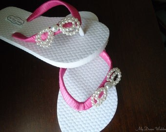 Girls Hot Pink Flip Flops. Bow flower girls flip flops. CZ pearls bow- Daphne's bow Collection 01  mdw-0040