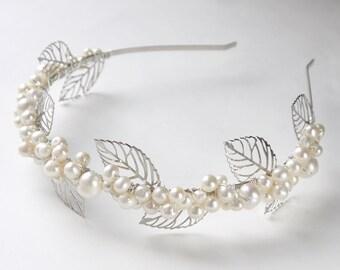 silver leaves pearl tiara- ivory freshwater pearl, filigree leaves wedding headband headpiece