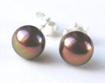 purple brown pearl earrings - 6mm freshwater pearl sterling silver stud earrings