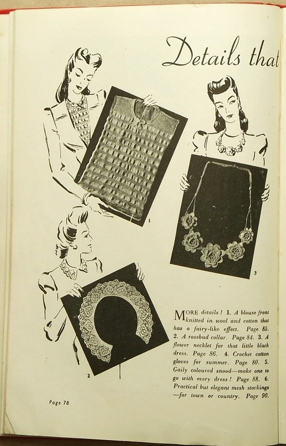 1940s knitting book Modern Knitting Illustrated knitting patterns book from E...