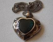 Vintage Silver Green Heart Pendant Necklace
