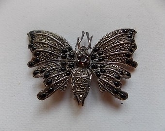 Vintage Silver Garnet Onyx Butterfly Brooch ARTICULATED Moves-SALE