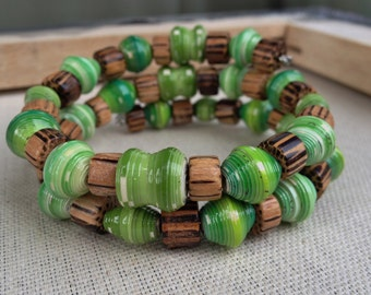 Shades of green and wooden brown bracelet ~ paper bead jewelry ~ Sale