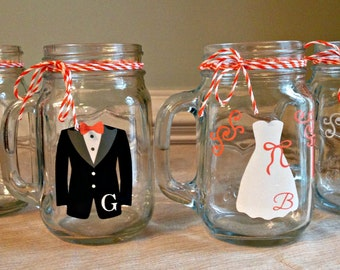 Bride and Groom set of 2 Personalized Monogrammed Mason Jar Mugs
