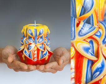 Colorful candle - Carved candle - Small candle - Bougies sculptées
