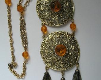HUGE   RUNWAY  Egyptian  Etruscan  Amber Medallion Bib Necklace 1960's Mod Style