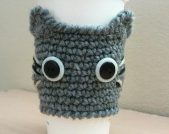 Crochet CAT Coffee Cup Cozy, Kitty Cup Warmer. GRAY