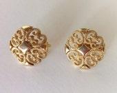 Vintage Avon Clip On Earrings - Gold Filigree