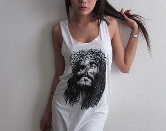 Jesus Man Skull Goth Gothic Punk Rock Print Tank Top M