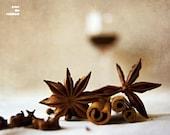 Food photography, glass of wine, muled wine, kitchen decor, stars, cinamon,warm, brown, 10x8, giclee, titled: Muled Wine III