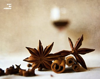 Mulled wine, Food photography, Winter spice, Kitchen art, Cinnamon print, Star Anise print, Wine photography, Rustic home décor