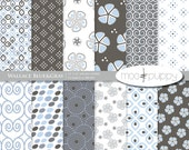 SALE: (50 for 50) Digital Scrapbooking Paper  --  Wallace Blue&Gray -  INSTANT DOWNLOAD