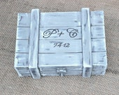 Ring Bearer Box Shabby Chic Rustic Beach Wedding Personalized (Your Color Choice)