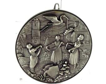 Vintage Pewter Wall Hanging - Storks