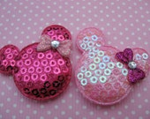 "30 Padded 1.5"" Sequin Mouse Head w/Bow-Pink&Hot Pink AD040"