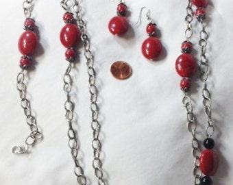 Necklace, Earring and Bracelet Jewelry Set, Black and Red Jewelry Set, GA Bulldogs Jewelry Set by CindyDidIt OOAK