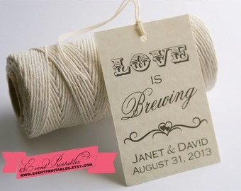 Love is Brewing Favor Tags, Bridal Shower Tea Party Gift Tags, Wedding Favor Tags, PRINTABLE / DIGITAL FILE by Event Printables