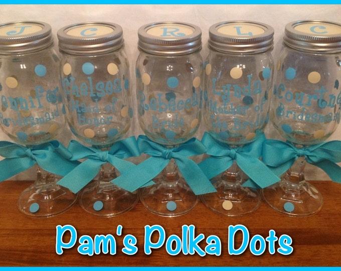 5 Personalized REDNECK WINE GLASSES Bridal Party Bride Bridesmaids Bachelorette Wedding Polka Dots