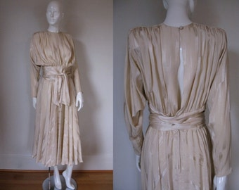 Vintage 1980s David Josef Champagne Colored Silk Dress w/Open Back