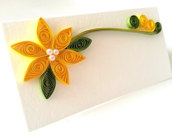 Yellow Wedding Place Card Paper Quilled Flower - 100 Cards - Assorted Colors available Made to Order