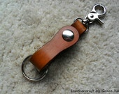 100% handmade hand dyed Desert Tan vegetable tanned  leather keychain / key holder with swivel snap hook