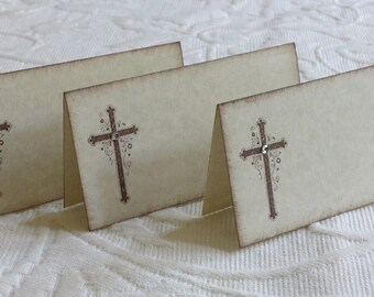 Cross Place Cards, Name Cards, Buffet Cards - Rhinestone Center - Easter, Baptism, Christening
