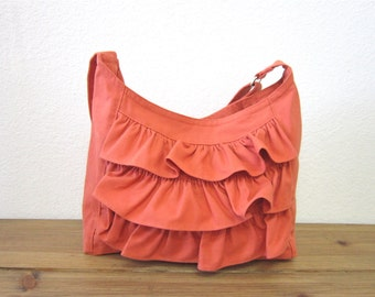 Rusty Canvas ruffle  Shoulder Bag/eco friendly/adjustable strap bag /made in USA -One ready to ship