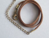 """1/ Finished Brown Leather/Suede Cord,  Unisex, Real Leather, 18"""" Brass"""
