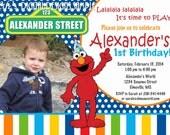 Elmo Birthday Photo Invitation Blue Dots Multi Color Stripe Customizable Printable