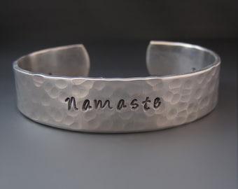 Silver Namaste Bracelet / Yoga Jewelry / Yoga Bracelet / Gandhi / Hand Stamped Hammered Silver Cuff Bracelet / Gifts for Her