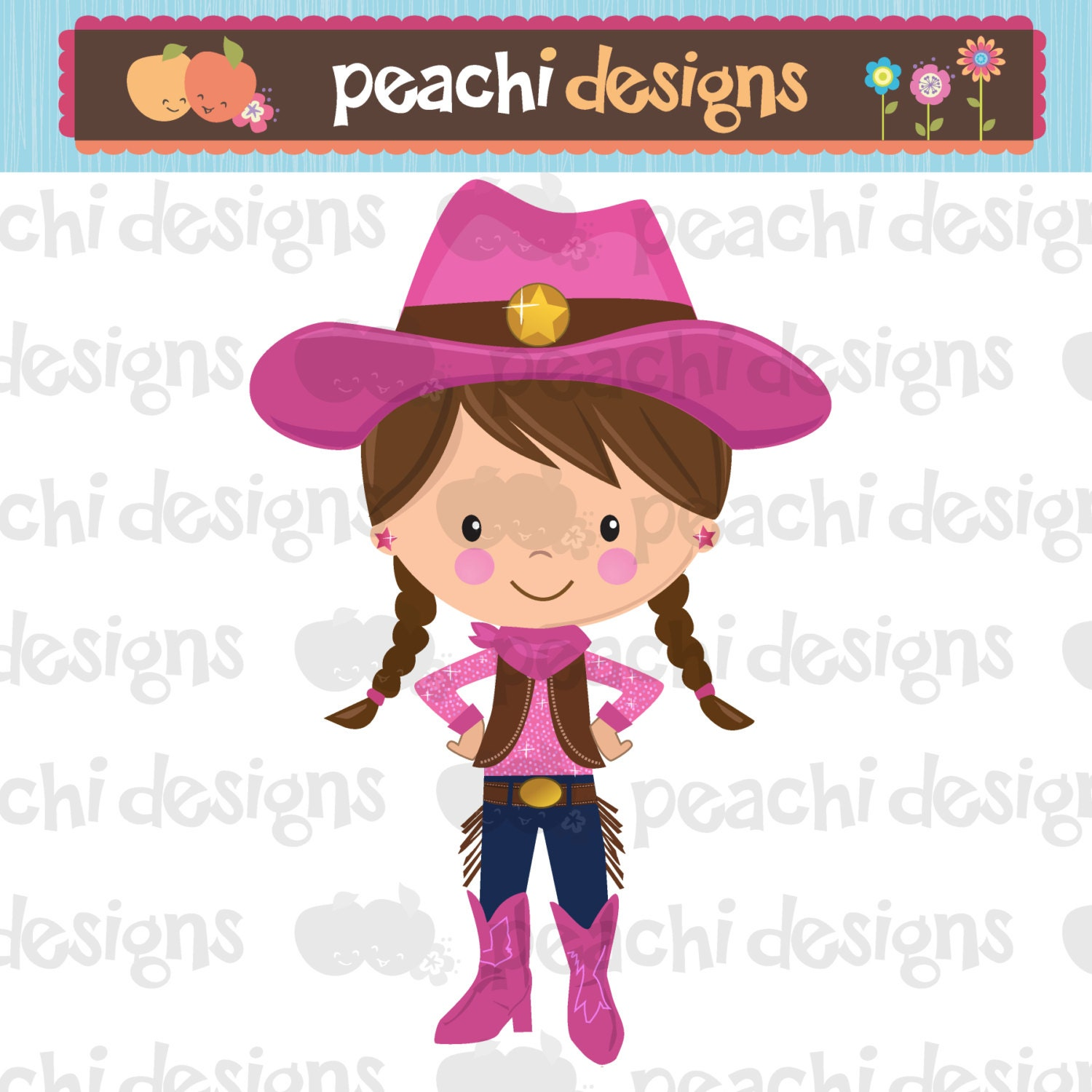 Cute Little Cowgirl Clipart Printable by peachidesigns on Etsy