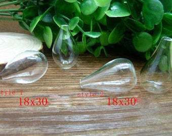 3pcs 18x30mm Clear Glass Tiny Wishing Drifting Bottle Vials Pendants N116