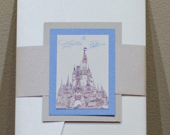 Cinderella wedding invitation, Disney wedding, fairytale wedding invitation, fairy tale wedding, princess invites, castle wedding invitation
