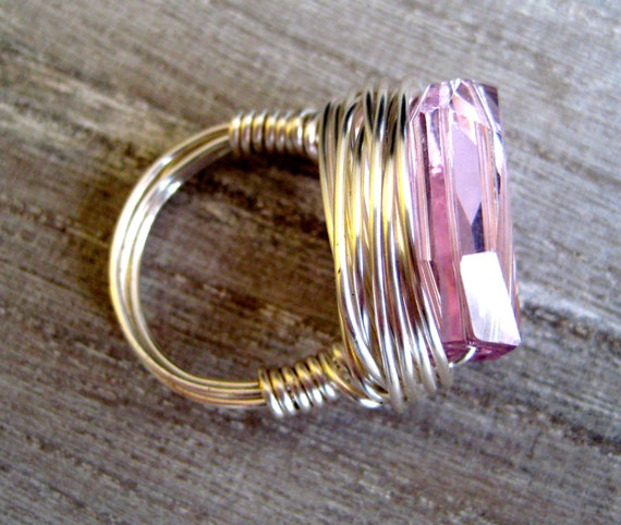 BOMBSHELL amethyst crystal boho wire wrapped ring, barbie, spring pastel, boho glamour