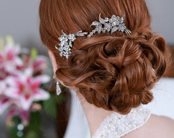 Silver Crystal Hair Combs Rhinestone Bridal Hair comb Vintage Hair Brooch Wedding Jewel Comb Classic Wedding Hair Accessories Comb Pair