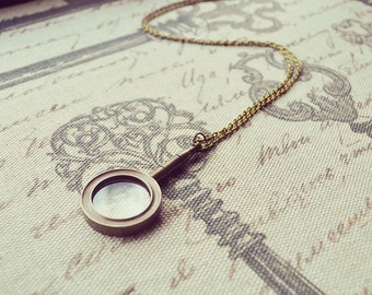 Bronze Magnifying Glass Necklace