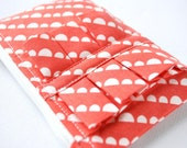 Coin purse wallet Vintage inspired circular bunting in white and red with ruffle.