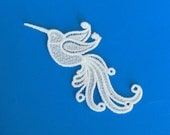 Lace Applique for Crafts or Crazy Quilt - Hummingbird with swirling tail