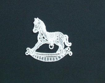 Lace Applique for Crafts or Crazy Quilt -Rocking Horse 2