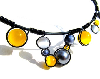 Wire Wrapped Necklace - Mixed Grey and Yellow Cats Eye Beads Black Wire and Adjustable Matching Chain