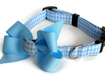 Baby Blue Gingham Bow Dog Collar size Small