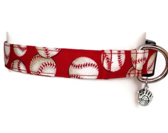 Red Baseball Dog Collar size Large
