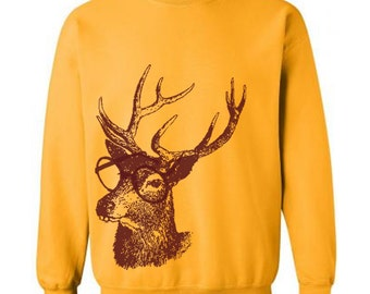 Reindeer Professor Christmas Sweater Flex Fleece Pullover Classic Sweatshirt - S M L Xl and Xxl (15 Color Options)