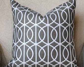 SALE-Designer Pillow Cover-20x20 -Dwell Studio-Bella Porte-Robert Allen-Taupe/Charcoal-Grey Pillow